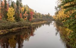 Autumn Reflections on the Wisconsin River. Wonderful travel destination is Wisconsin parks in the Autumn season royalty free stock images