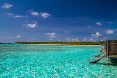 Wonderful tropical beach with water bungalows in Maldives Stock Photography