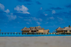 Wonderful tropical beach with water bungalows in Maldives Royalty Free Stock Photo