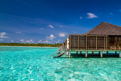 Wonderful tropical beach with water bungalows in Maldives Stock Photo