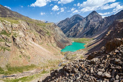 Wonderful turquoise mountain lake, Kyrgyzstan Royalty Free Stock Photo