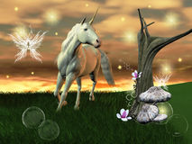 Wonderful unicorn. A wonderful unicorns gallops in an enchanted meadow Stock Photography