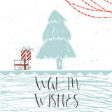 Wonderful and unique handwritten Christmas wishes. Christmas card with  text, tree and presents  on a winter background with snow and snowflakes. Greeting card Royalty Free Stock Photography
