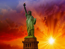 Wonderful upward view of Statue of Liberty, symbol of New York C Royalty Free Stock Photography