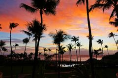Wonderful vacation in Ka`anapali beach, Maui Royalty Free Stock Photos