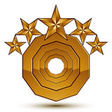 Wonderful vector template with 5 golden stars, rounded symbol, b Royalty Free Stock Images