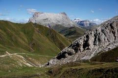 Wonderful view of alp de siusi with distinctive dolomite mountain peak Royalty Free Stock Photos