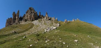 Wonderful view of alp de siusi with distinctive dolomite mountain peak Stock Photo