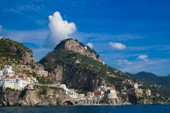Wonderful view Amalfi on the tyrrhenian sea, Campania, Italy stock image