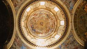 Wonderful view on amazing mural paintings on ceiling of Naples cathedral. Stock footage stock video