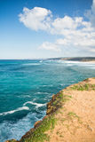 Wonderful view on atlantic coastline in blue sky Royalty Free Stock Image