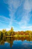 Wonderful view of autumn lake. Royalty Free Stock Photos