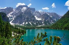 Wonderful view of Braies lake in the Italian Dolomites stock photos