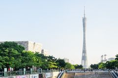 Wonderful view of the Canton Tower in Guangzhou, China. Guangzhou, China - September 16, 2017: Wonderful view of the Canton Tower (Guangzhou TV, Astronomical and royalty free stock image