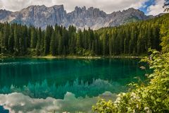 Wonderful view of Carezza lake Karersee near Nova Levante, Trentino Alto Adige. Italy, Europe stock photo