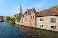 Wonderful view on a channel in Brugge Stock Image