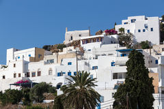 Wonderful view of City buildings in Ios Island, Greece Stock Photos
