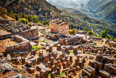 Wonderful view on Delphi ruins and civilization heritage, Greece. Wonderful view on Delphi ruins and civilization heritage Royalty Free Stock Photos