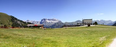 Wonderful view of the Dolomites - On background the view of Sell Stock Photography