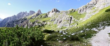Wonderful view of the Dolomites - Trentino Alto Adige on the National Park Sexten Dolomites Italy royalty free stock photography