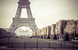 Wonderful view of Eiffel Tower In Paris vintage color Royalty Free Stock Photography