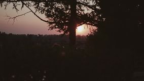 Wonderful view of the evening sunset. A beautiful disc of the sun over the river. Beautiful view of a beautiful sunset over the river in motion. Beautiful stock video footage
