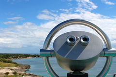 Wonderful view with a fixed binoculars on a Caribbean Island. A modern fixed binoculars with a wonderful overview of the caribbean island near the city La Romana royalty free stock photography