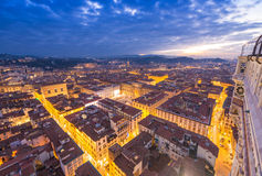 Wonderful view of Florence at sunset times. Aerial view from Cam. Panile Stock Photos