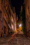 Wonderful view on Garillon`s road in old Lyon, in the way to Fourvière Stock Photography
