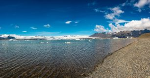 Wonderful view of Glacier Lagoon, Jokulsarlon, on South Iceland royalty free stock image