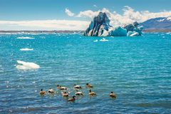 Wonderful view of Glacier Lagoon, Jokulsarlon, on South Iceland stock image