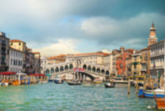 Wonderful view of gondolas and bridges in love on the Grand Cana. L in Venice, Italy. Backgrounds. blur effect Royalty Free Stock Photography