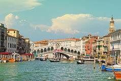 Wonderful view of gondolas and bridges in love on the Grand Cana. L in Venice, Italy, Europe Royalty Free Stock Photo