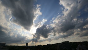 Wonderful view on gorgeous clouds in evening sky. Panoramic view from city window.  stock video