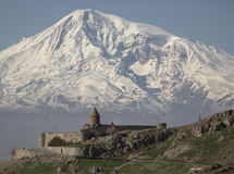 Wonderful view on Hor Virap Monastery with Ararat Mount in the background. Armenia. Wonderful view on Hor Virap Monastery with Ararat Mount in background Stock Photos