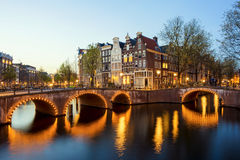 Wonderful view on houses of Amsterdam in night, Netherlands Royalty Free Stock Photos