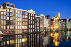 Wonderful view on houses of Amsterdam in night,Netherlands Royalty Free Stock Images