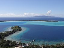 Wonderful view of the island Bora Bora with Taha`a behind royalty free stock image