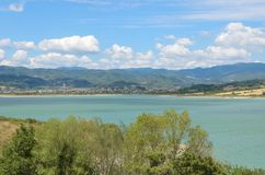 Wonderful view of a lake from countryside, Lago di Bilancino, Florence Royalty Free Stock Photography