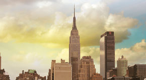 Wonderful view of Manhattan Skyscrapers with beautiful sky color Royalty Free Stock Image