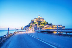 Wonderful view of Mont Saint Michel at summer night Stock Photography