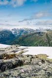 Wonderful view on mountain range with glacier Stock Photo