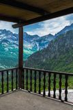 Wonderful view of the mountains from the hotel`s terrace royalty free stock photography
