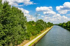 Wonderful view over the Rhine-Herne-Canal in Essen. Germany Royalty Free Stock Image