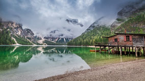 Wonderful view of Pragser Wildsee in Dolomites Stock Photography