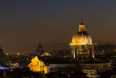 Panorama view of Rome at sunset Stock Images