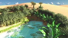 Wonderful view on Sahara desert at sunset 3d rendering. Awesome evening hours above african wilderness Royalty Free Stock Image