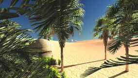 Wonderful view on Sahara desert at sunset 3d rendering. Awesome evening hours above african wilderness Stock Photography