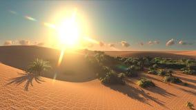 Wonderful view on Sahara desert at sunset 3d rendering. Wonderful view on Sahara desert at sunset Royalty Free Stock Image