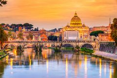 St Peter Cathedral, Rome, Italy. Wonderful view of St Peter Cathedral at sunset, Rome, Italy Stock Photos